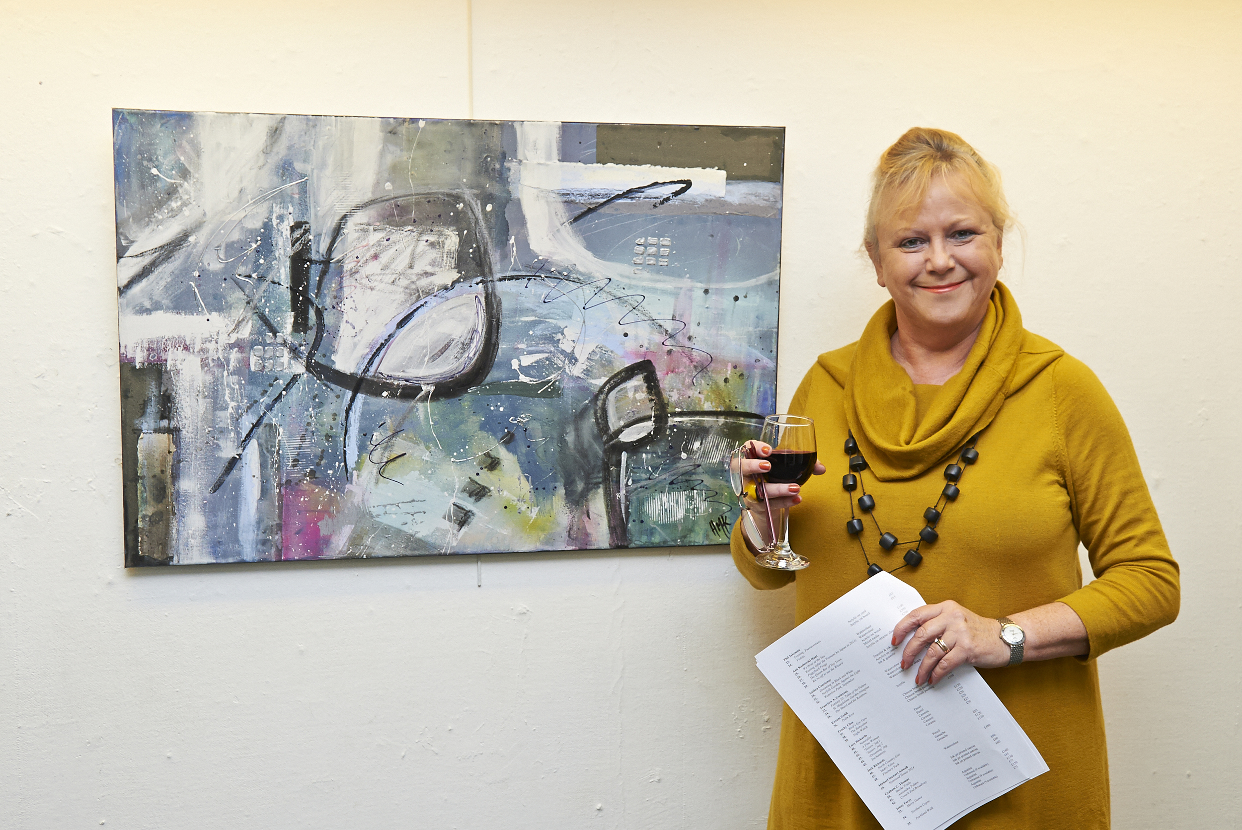 Helen Kaminsky with her collage Stage Whisper