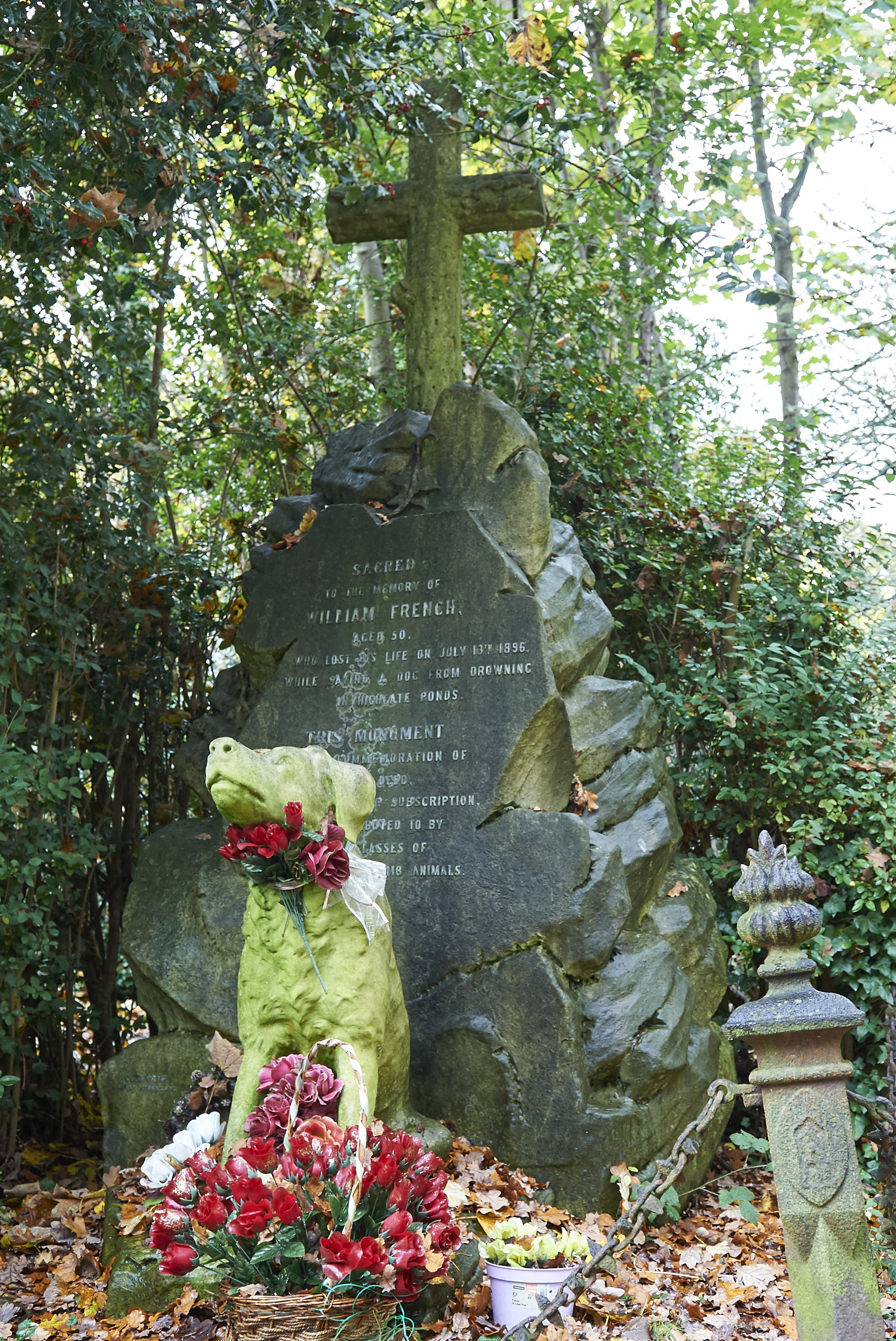 This is the resting place of a guy who jumped into Highgate Ponds to save a Dog in 1896, and lost his own life.
