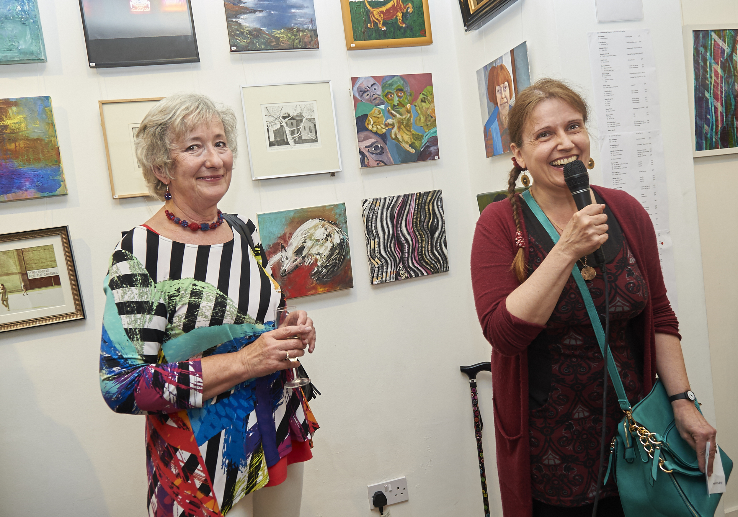 Royal Academician, Anne Desmet (right) and our Chair, Jo Pethybridge open the show.