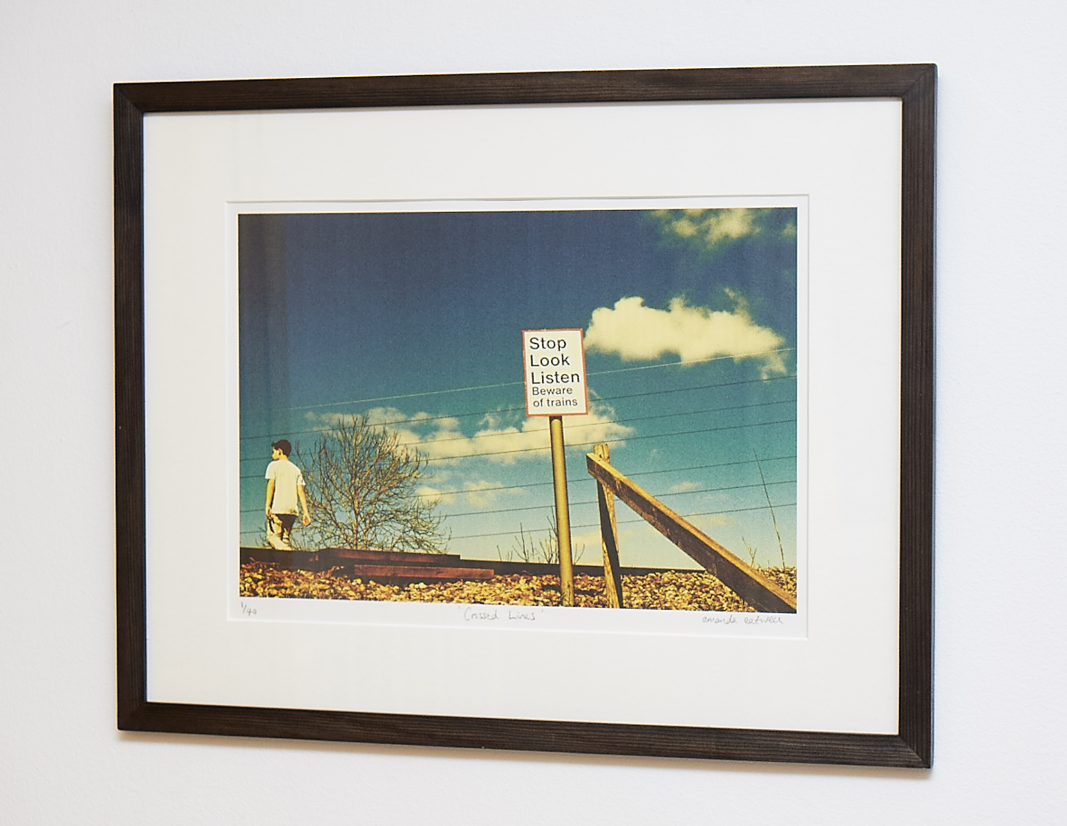 """Crossed Lines   Sumptuous hues make this Somerset scene look like America.   Cross-processed image on Hahnemuhle German Etching Paper.    Frame Size approx. 22 x 17""""    COST £55.00"""