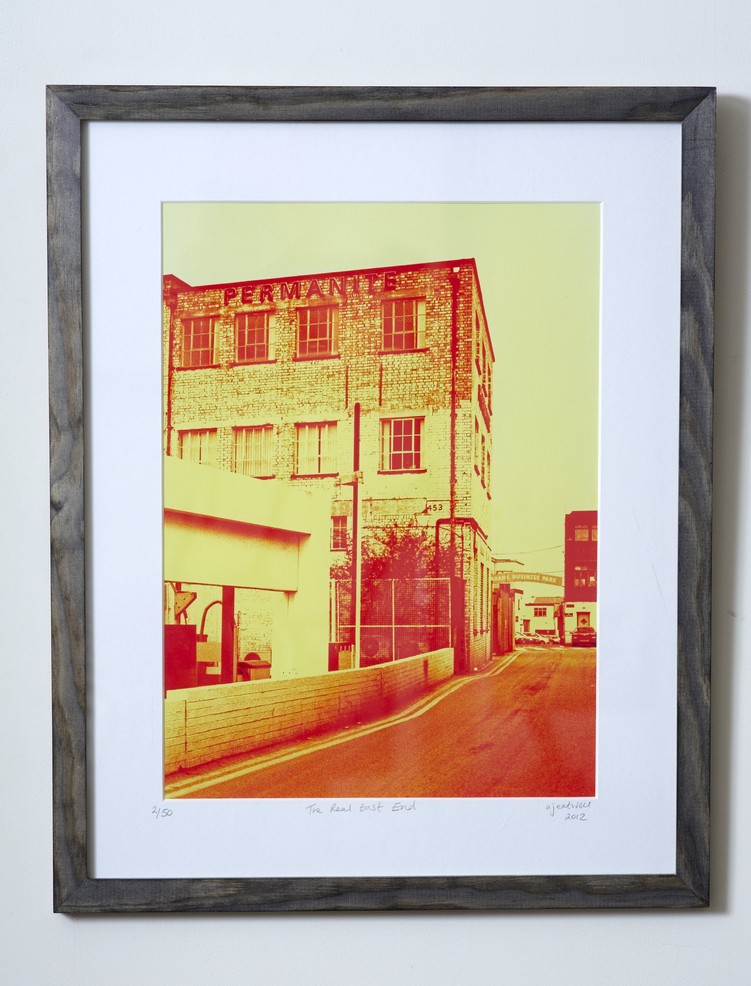 """The Real East End   Often mistaken for a screenprint, this image was taken a stone's throw from the Olympic Park in a more traditional east-end back street.   Cross-processed image on Hahnemuhle German Etching Paper.    Frame Size approx 19 x 15.5""""    COST £40.00"""
