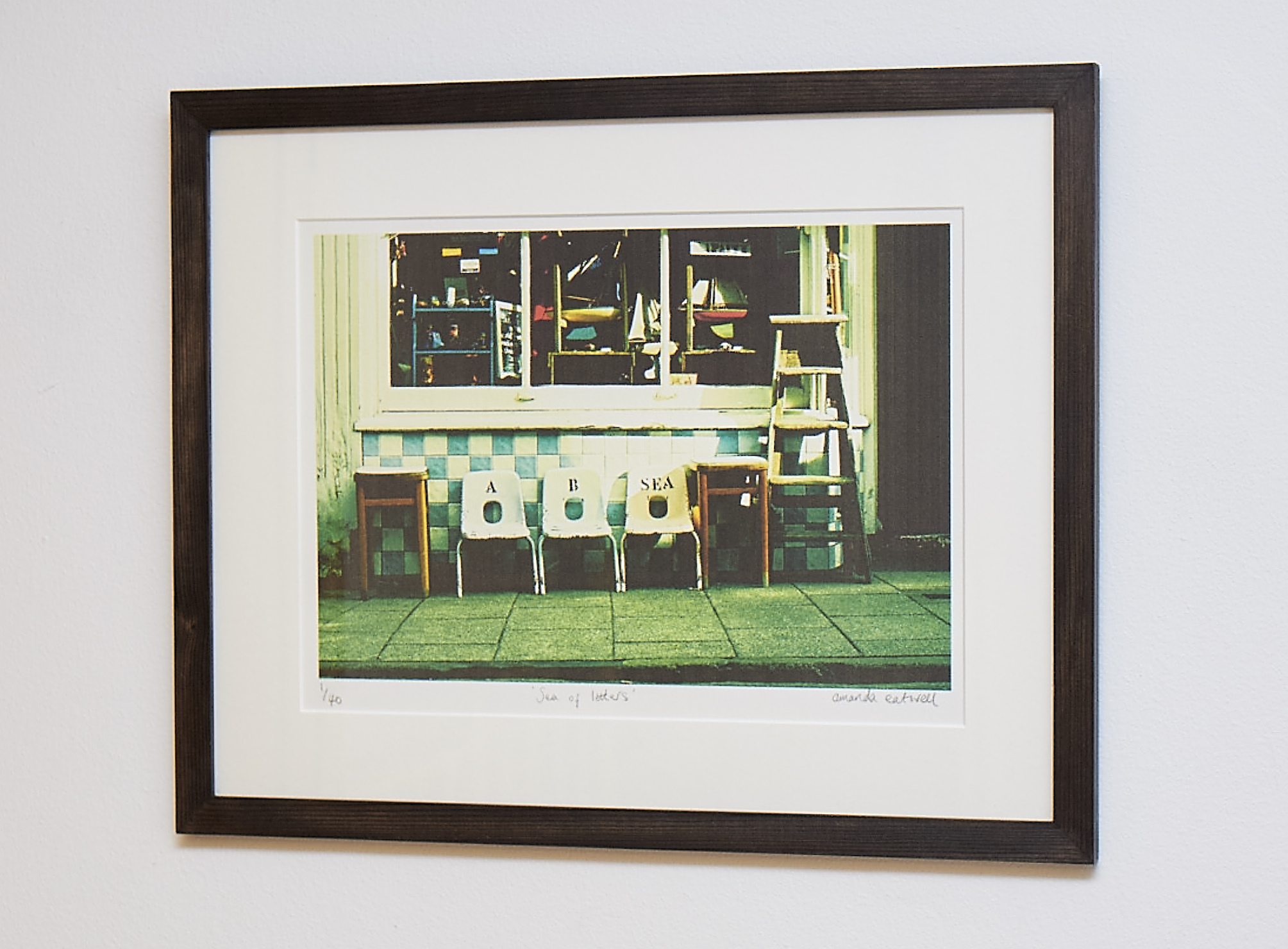 """Sea Of Letters **SOLD**   An evocative shot from Whitstable, and a great image for those who love a bit of Vintage!   Cross-processed image on Hahnemuhle German Etching Paper.    Frame Size approx 19 x 15""""    COST £40.00 **SOLD**"""