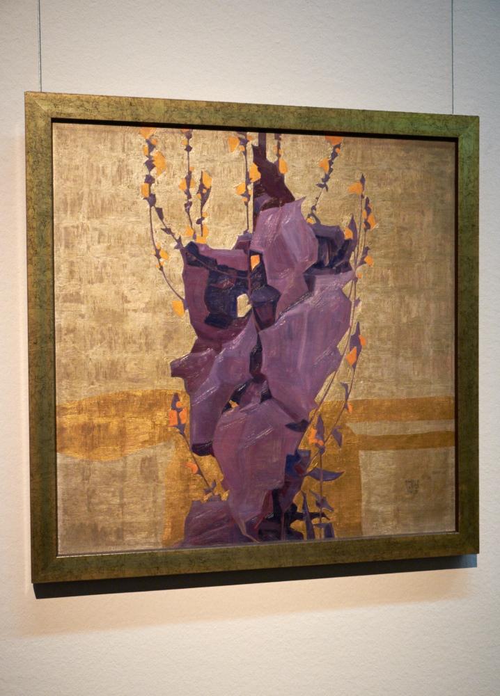 Stylised Flowers on Decorative background, Egon Schiele.