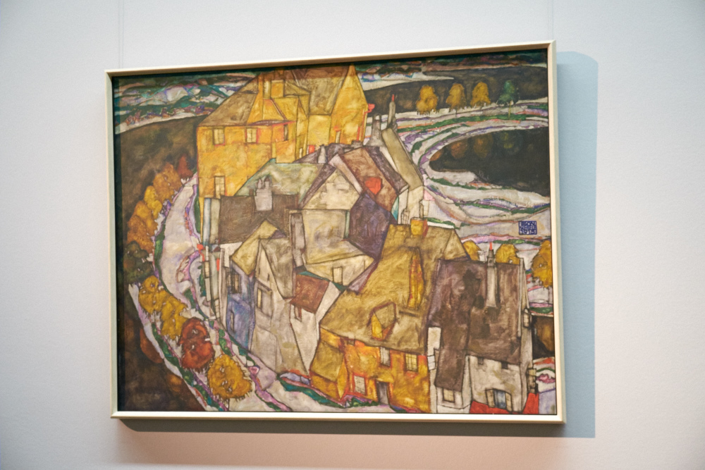Schiele regularly visited the city of Krumau in Southern Bohemia (today Cesky Krumlov in the Czech Republic)to make his own interpretations of the buildings there.  I liked the wistful nature of the paintings.