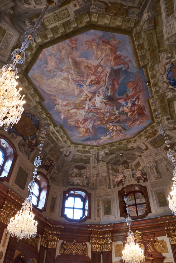 The magnificent ceiling of The Marble Hall, Belvedere Palace