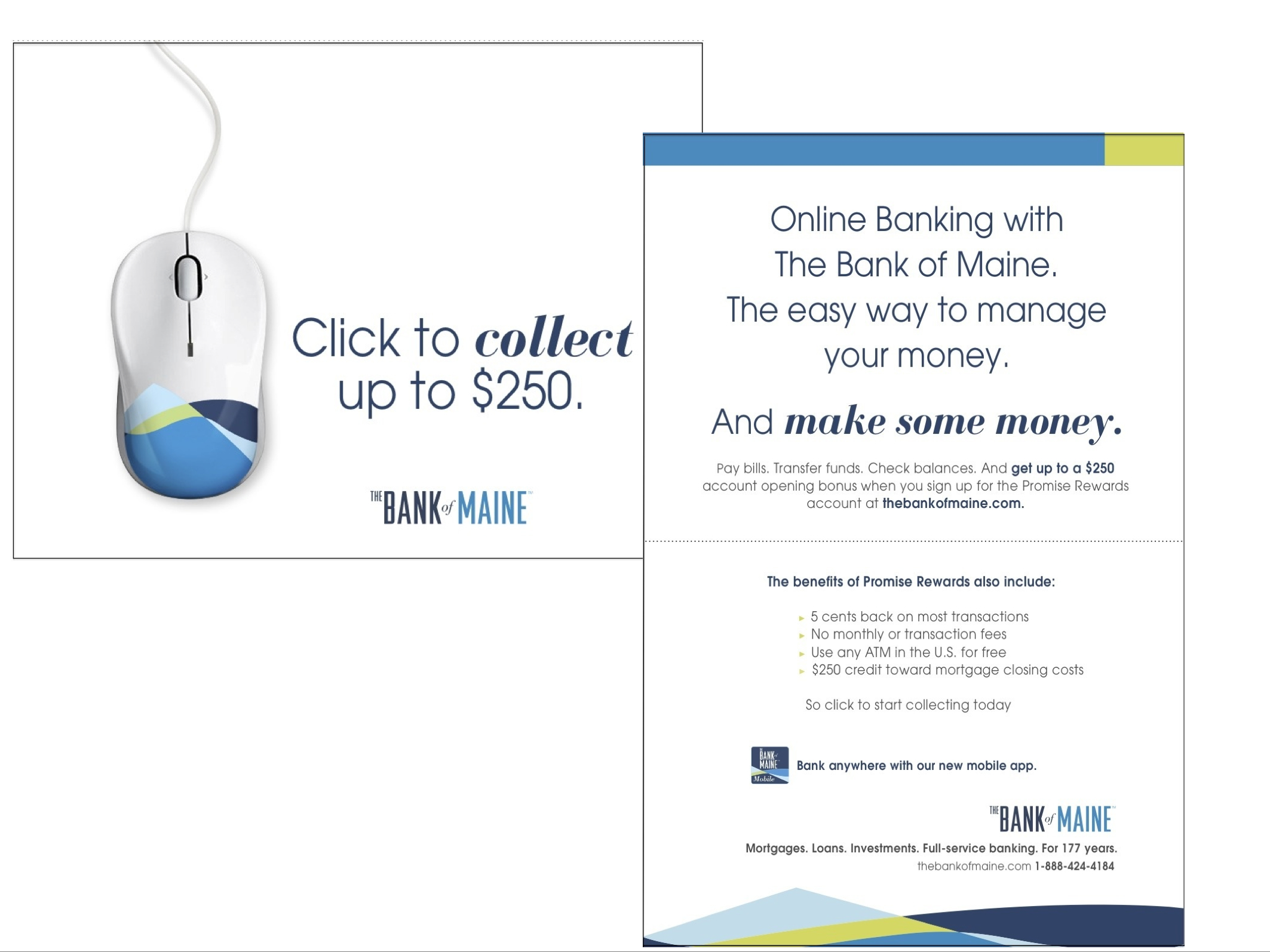 Mailer for The Bank of Maine