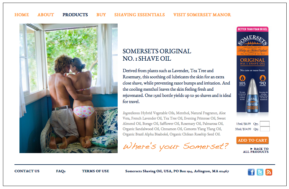 Somersets Shave Oil - Somersets is an English shave oil and their goal was to break into the US market with a provocative marketing campaign aimed primarily at younger men. We worked with them on core messaging/branding, design, video and web content.