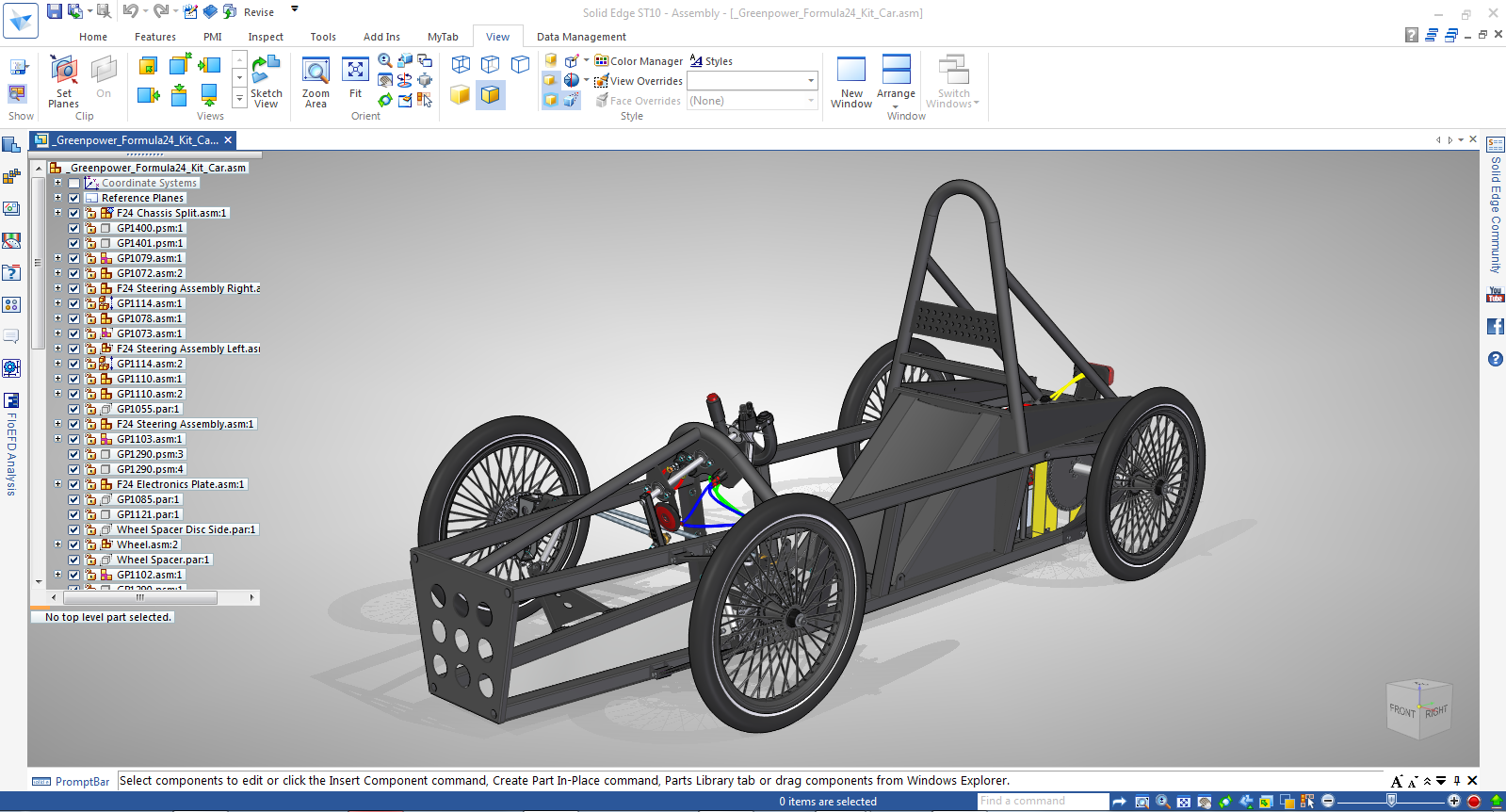 F24 - Split Chassis CAD Model - This file is referenced throughout our Greenpower training videos to serve as a starting point for teams wanting to design in Solid Edge, which Siemens PLM Software provides free to students and teachers.