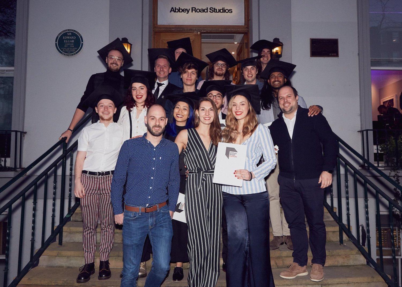 Outside Abbey Road Studios in London, graduation ceremony