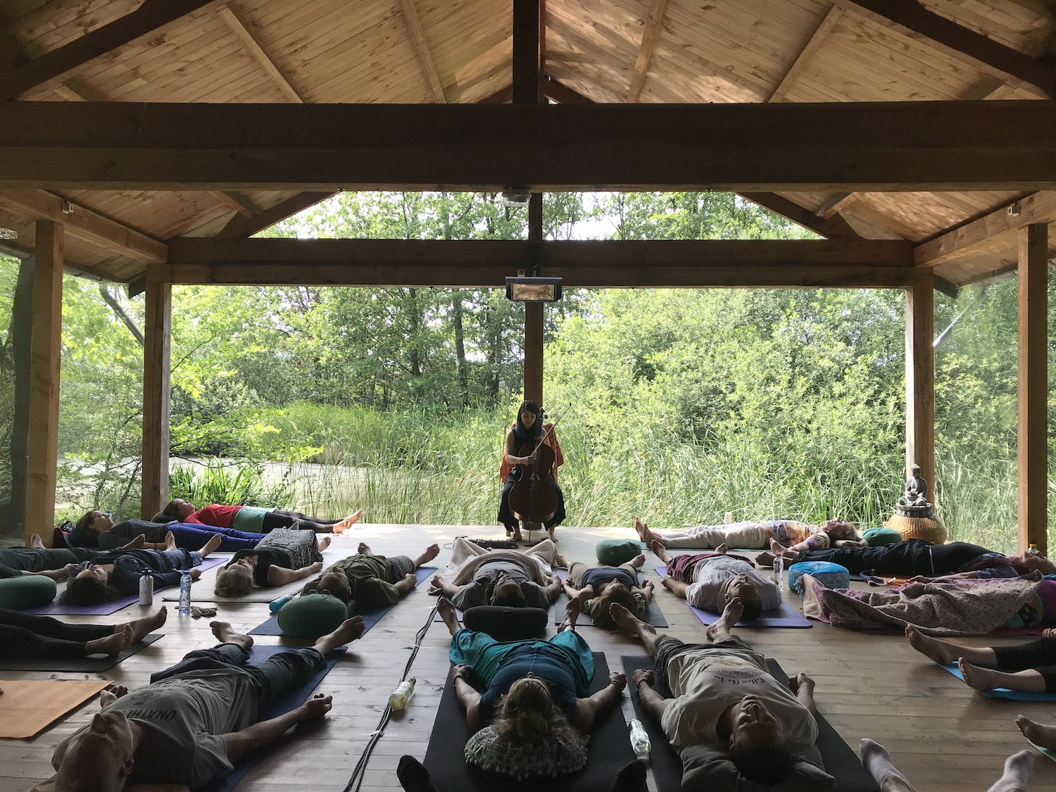 Cello Savasana Concert as part of Ecstatic Woods retreat in Schijf, The Netherlands