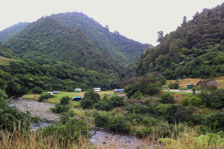 Campground in Waioeka Gorge