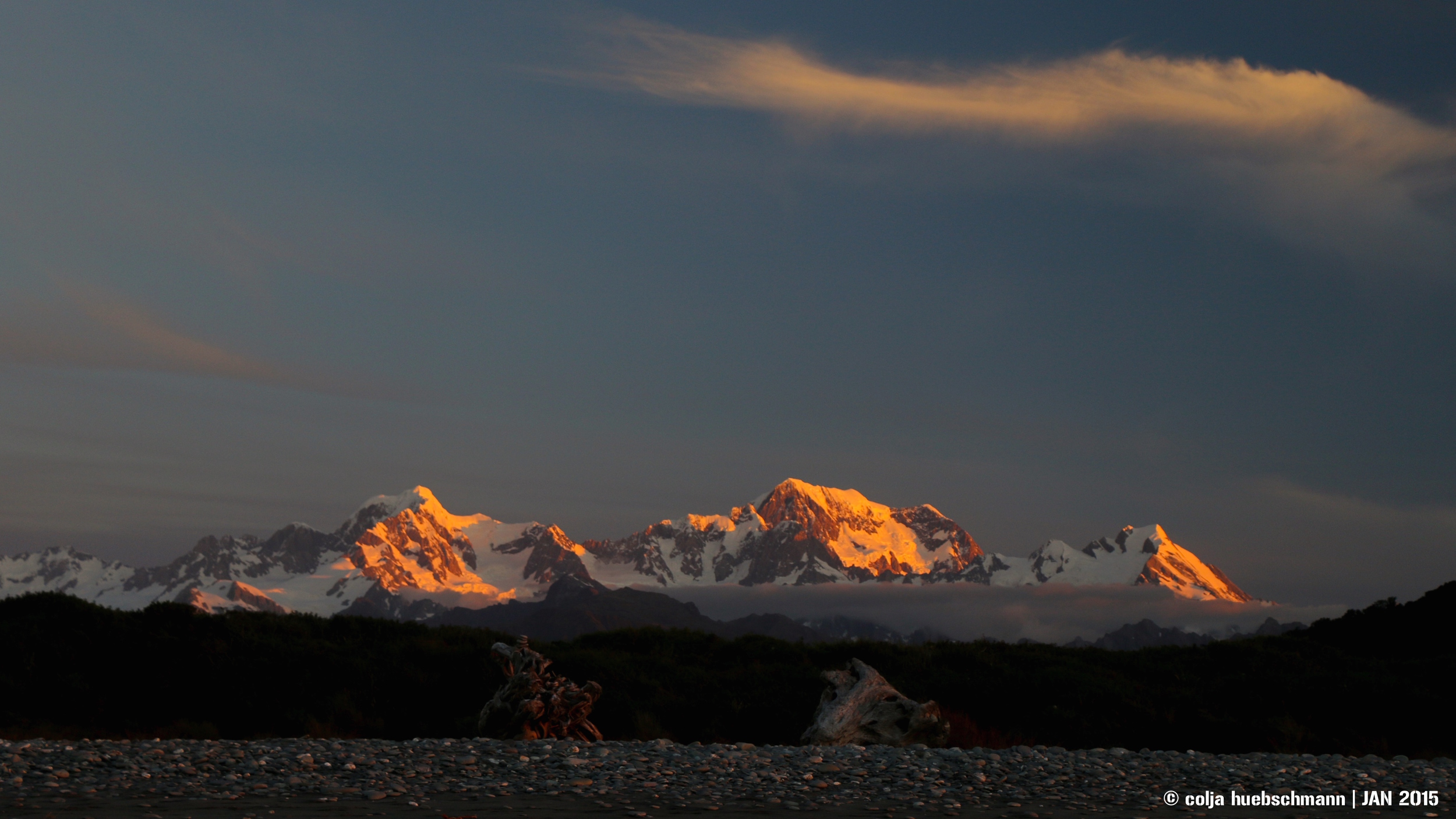 Mt. Tasman and Mt. Cook - view from gillespies beach
