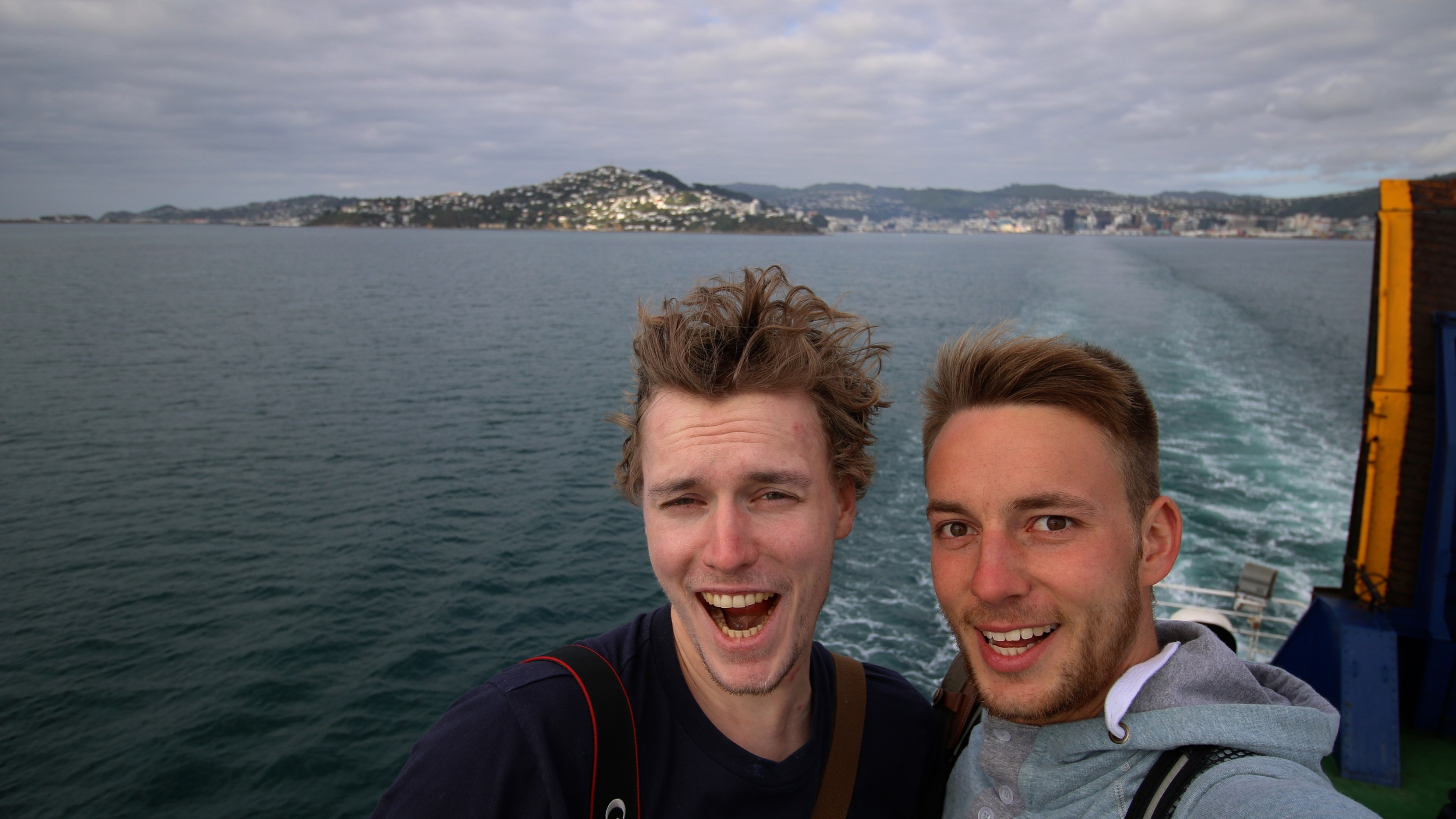 Helge and me on the ferry from wellington to picton