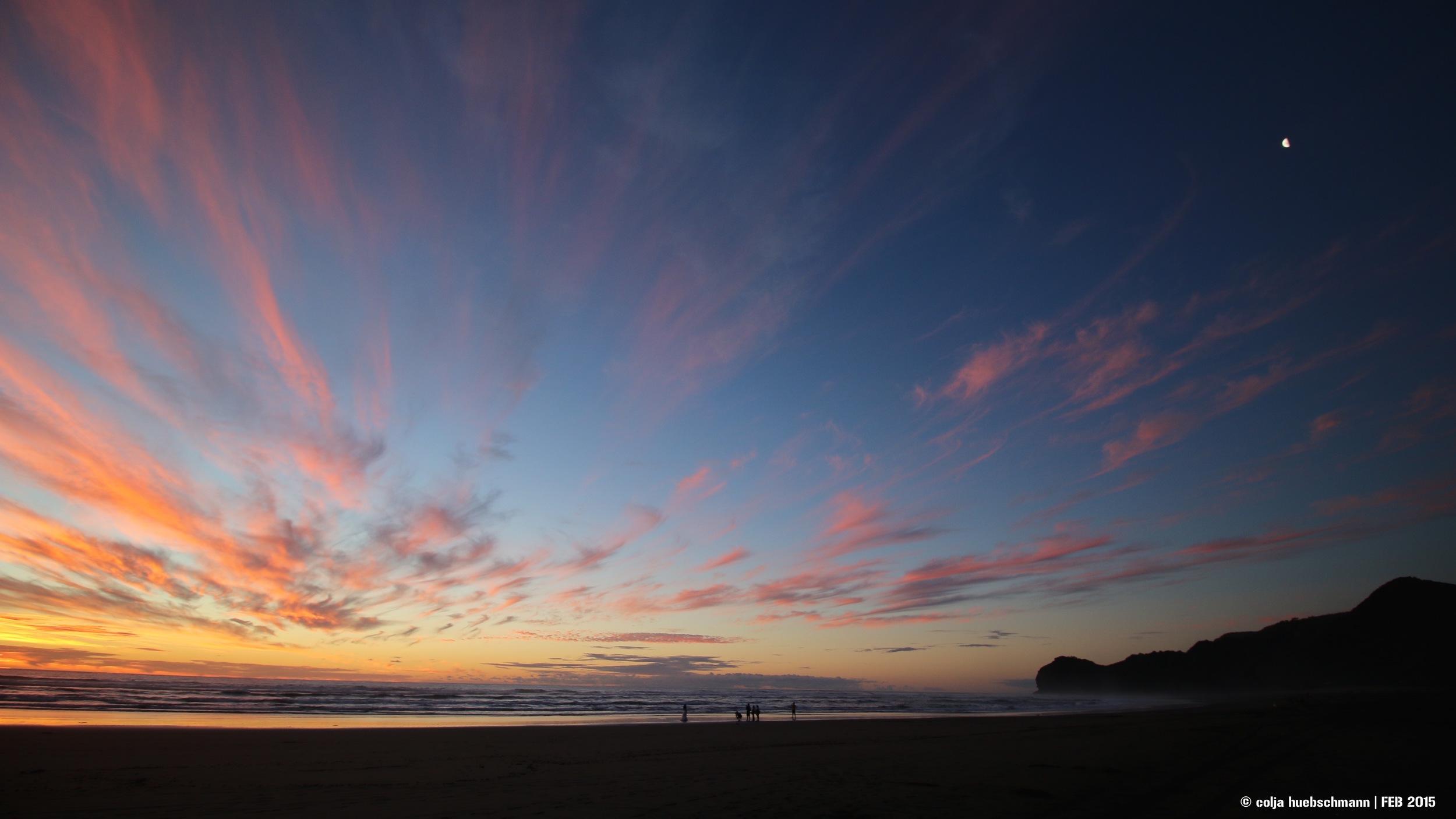 sunset, piha Beach