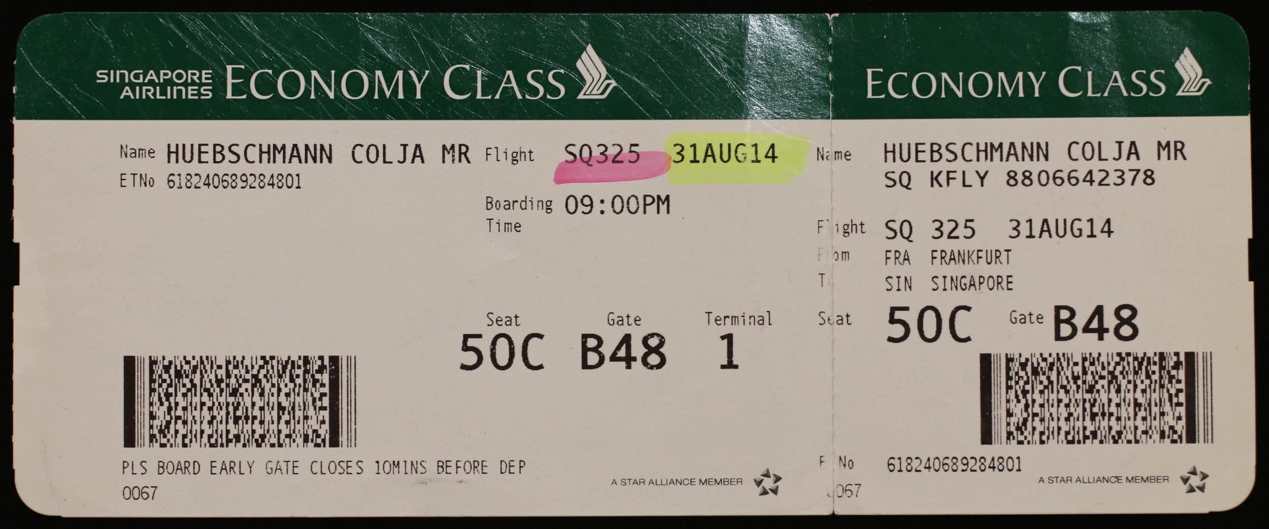ticket FRA-SIN (31AUG14)