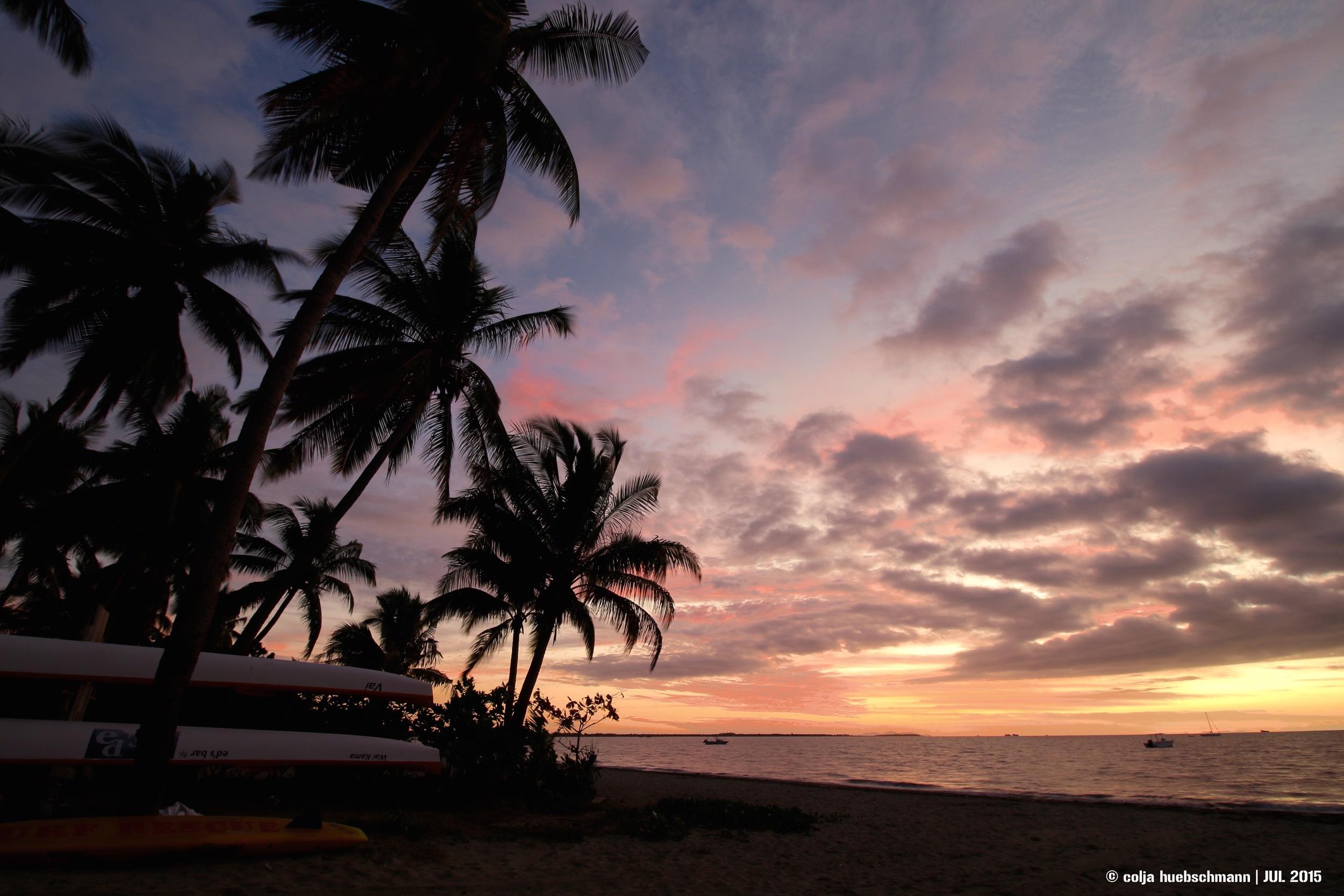 sunset at bamboo backpackers, Nadi, Fiji