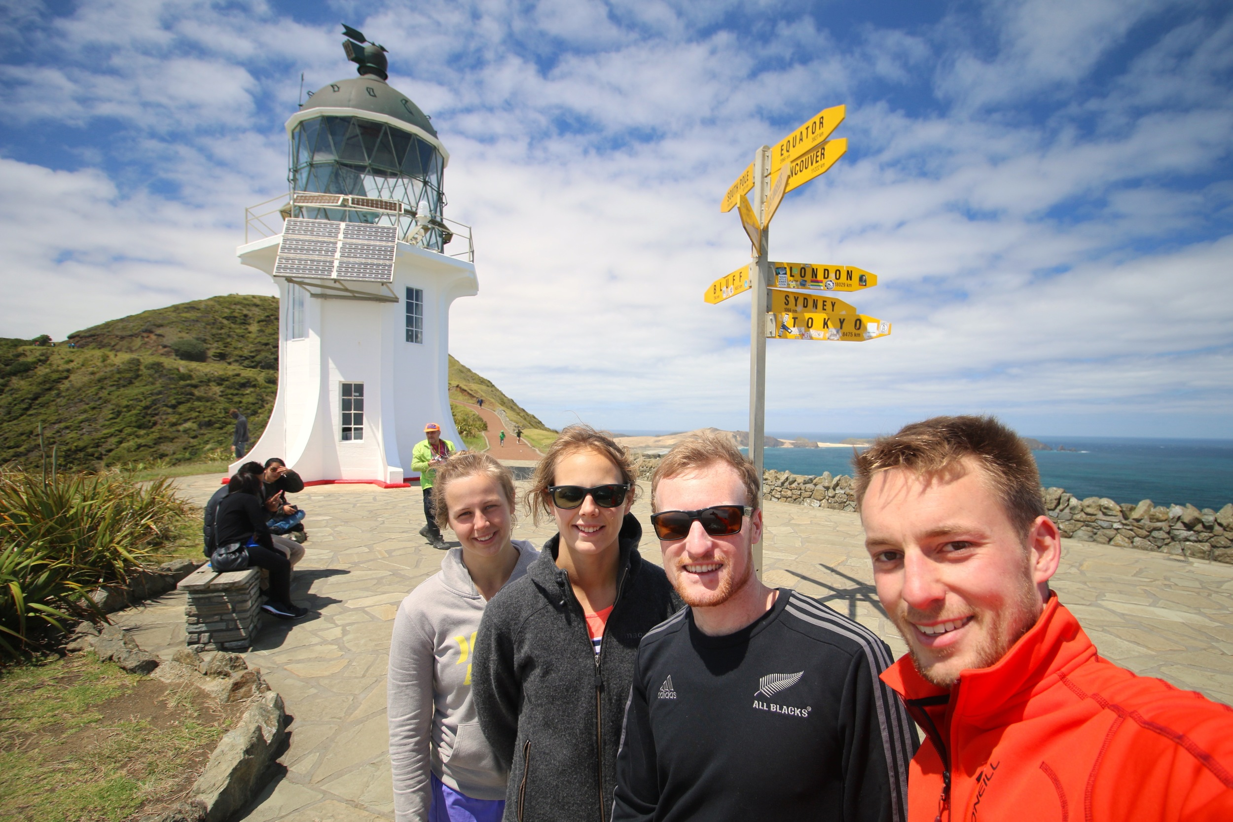 Emma, Sarah, Ben & Me at Cape Reinga