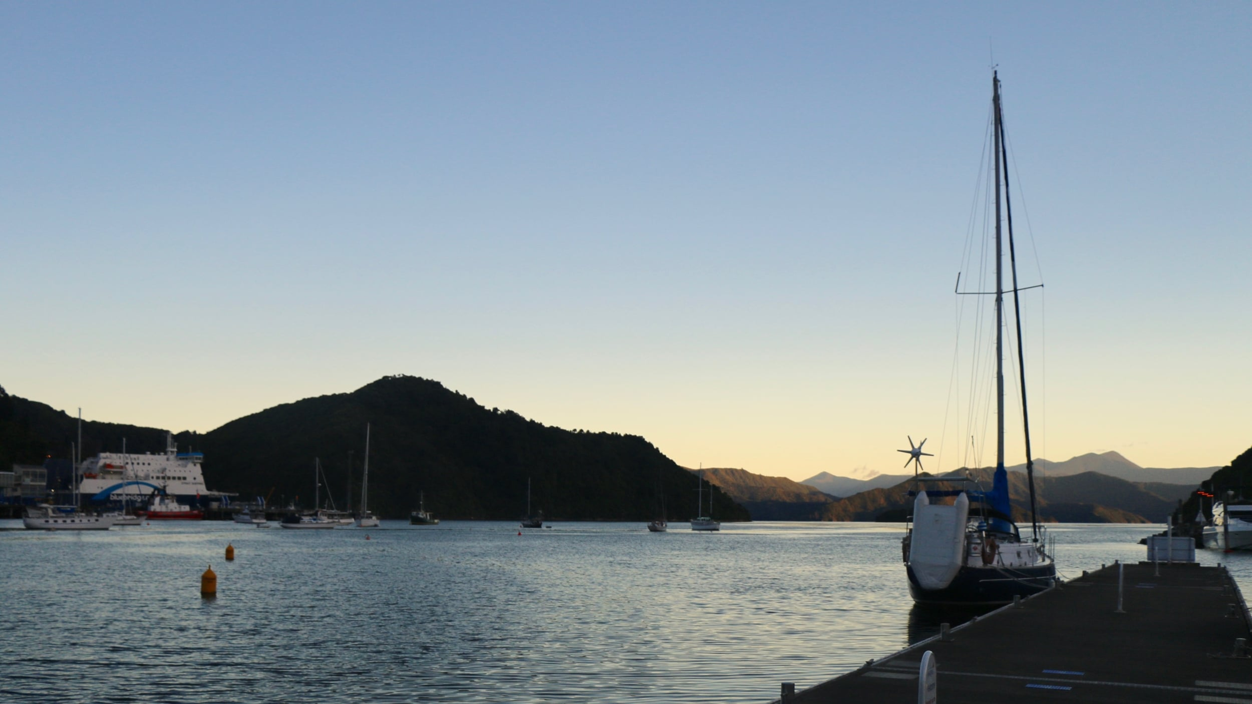 Picton harbour, arrival of the ferry from Wellington