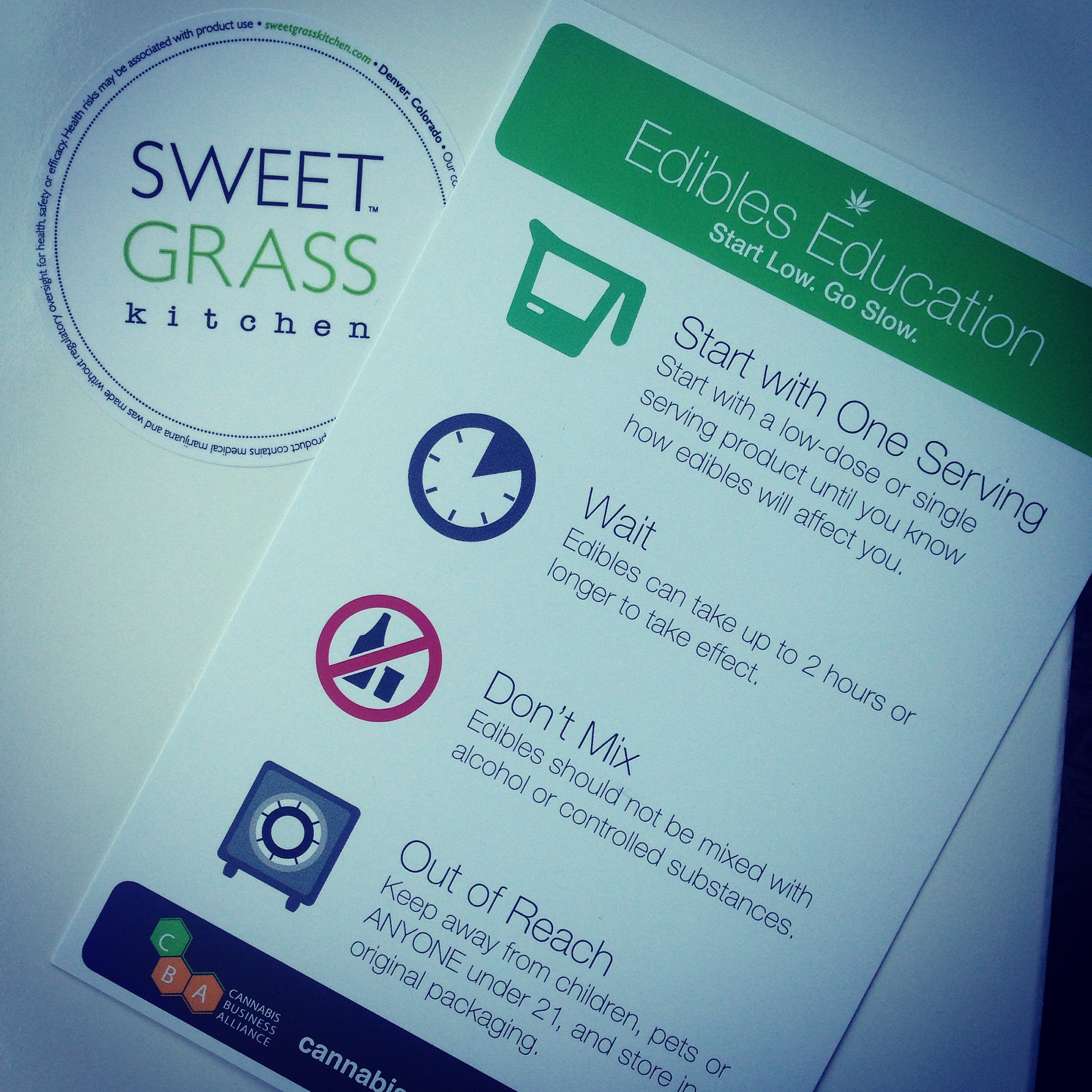 "Edibles Education cards created and provided by the Cannabis Business Alliance to educate people on ""Start Low. Go Slow."""