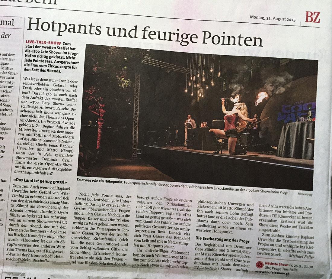 Berner Zeitung / 31. August 2015