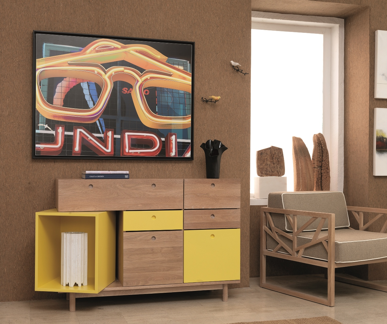 PANDORA sideboard  PANDORA is the perfect storage solution and will enhance your living room, through the combination of radiant yellow with the natural oak. The color can be customizable to every ral or pantone color.