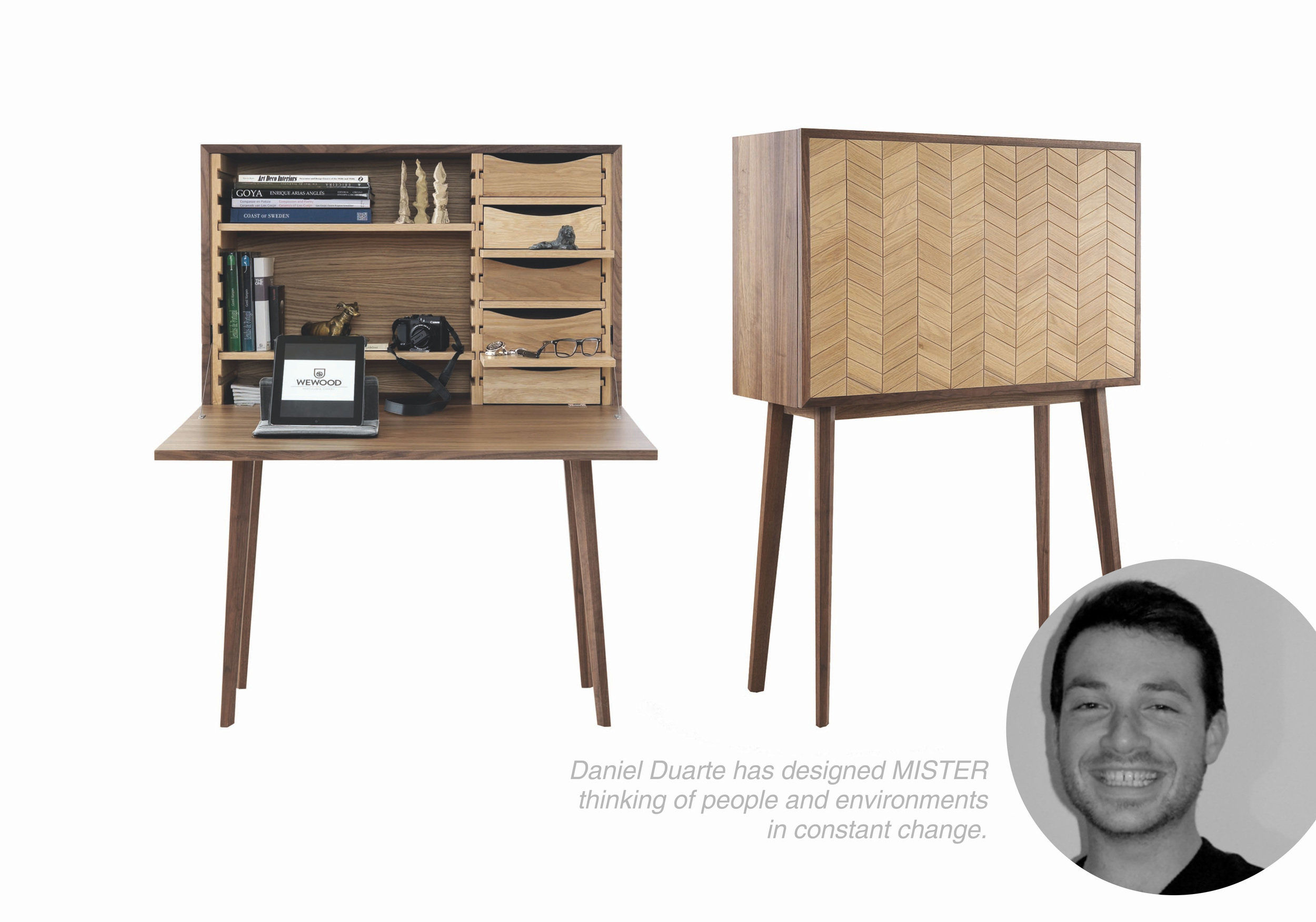 Mister  stands out for its  high versatility and customization.  Its interior can be completely rearranged according to differet needs,  allowing to be used as a bar, a desk or simply as a sideboard.