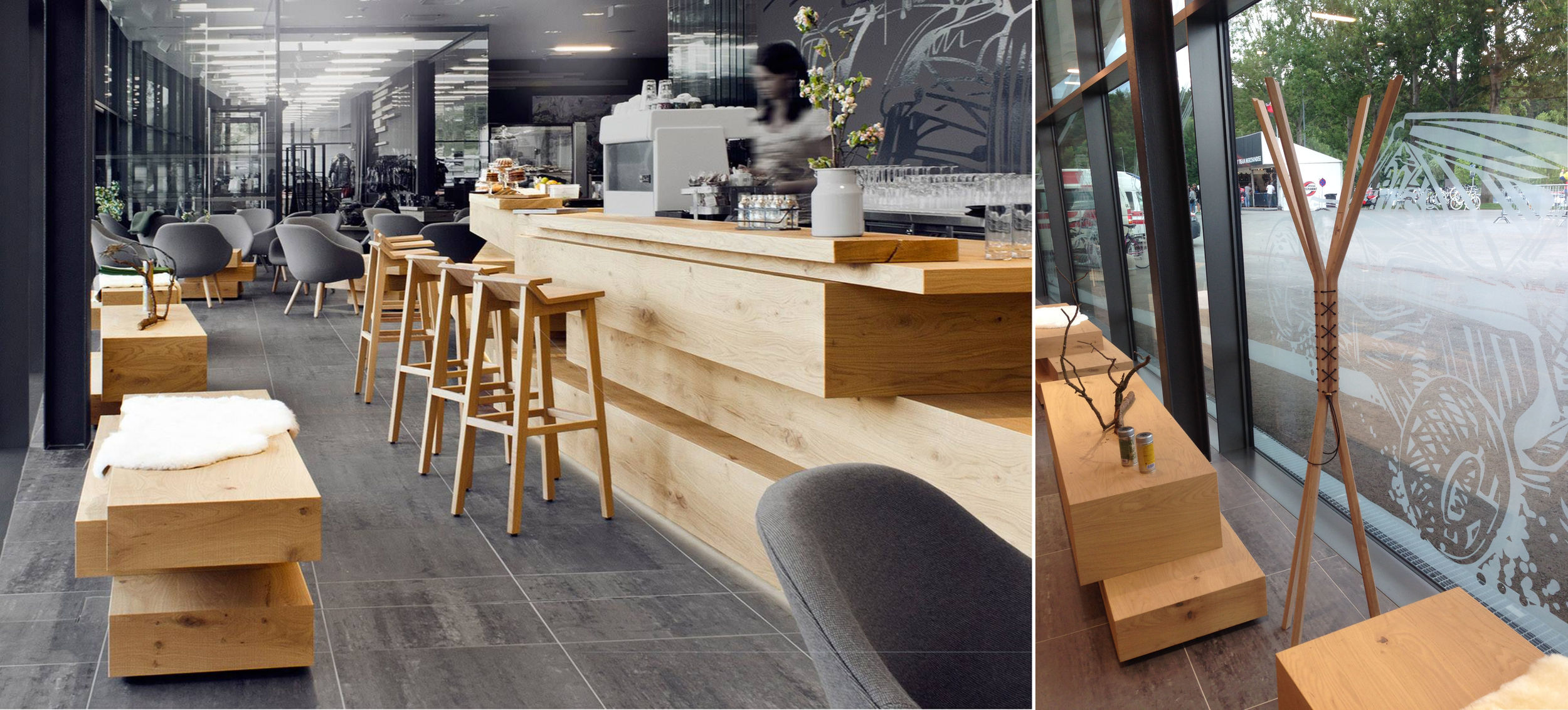 RIEBENBAUER DESIGN  STUDIO IN WIEN has developped the  RED BULL'S WELCOME CENTER , including the cafe. The concept of project was to use the  natural solid wood in its purer state  and of course  CANCAN  coat stand from  WEWOOD  was one of the pieces selected to be part of this project.