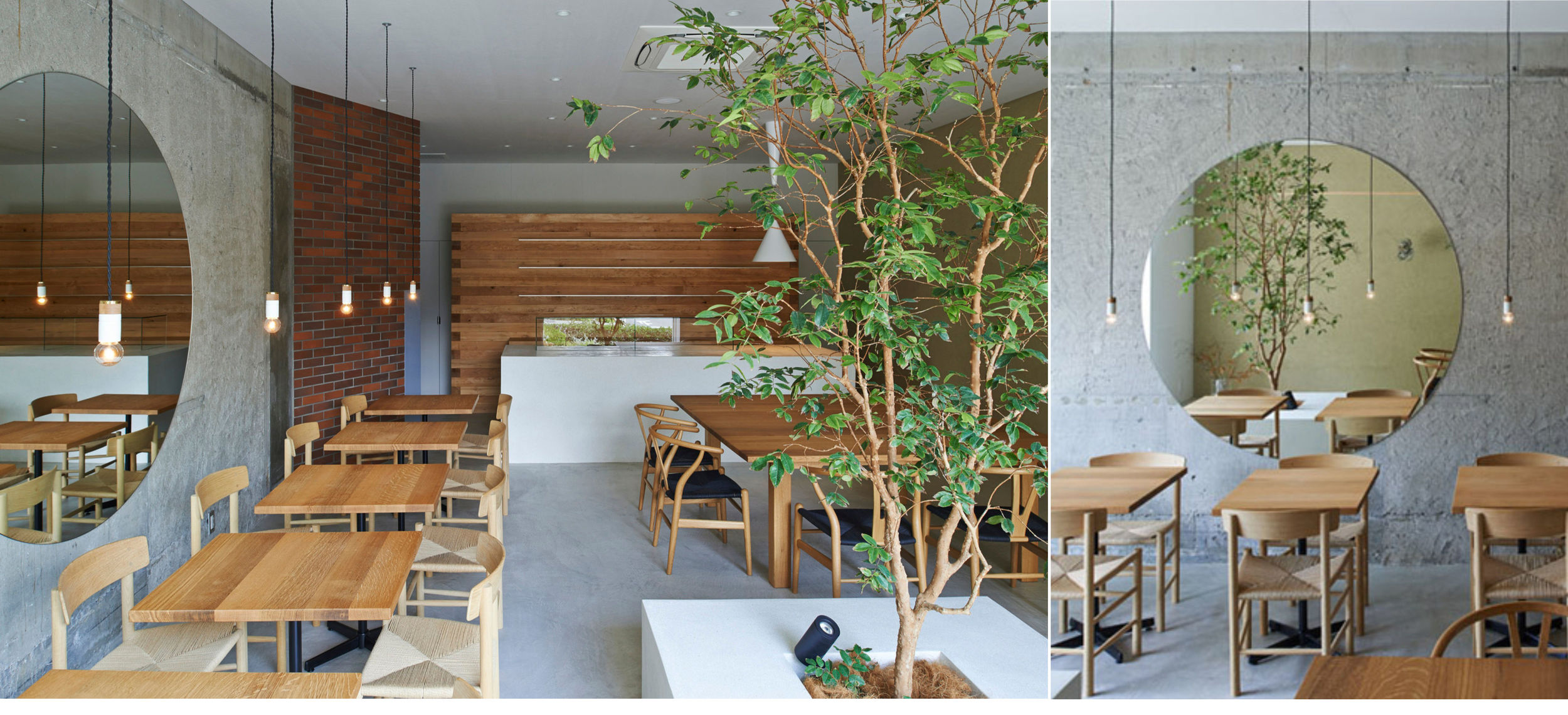 The Japanese studio  Ninkipen  has designed the interior of Ito-Biyori cafe using a variety of materials to create a simple and warm atmosphere with small trees growing inside.