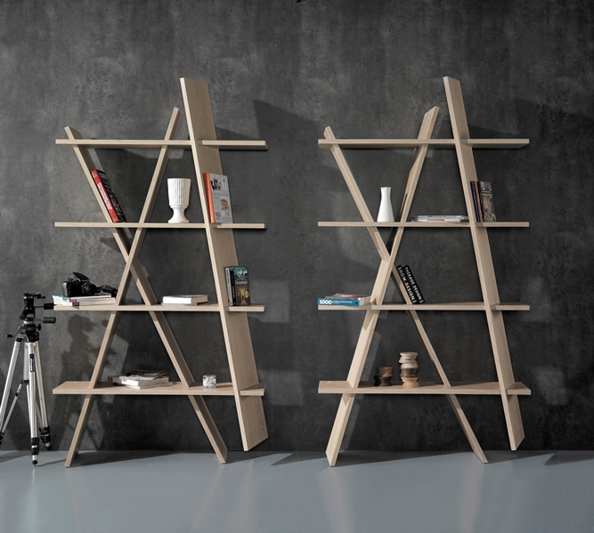 XI bookshelf  will definitely break the monotony from a classical interior. Assembly couldn't be easier, the instructions are placed on the wooden planks to make it intuitive to understand and fun to assemble.