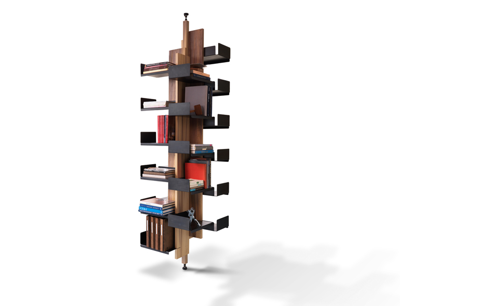 Some designs don't fit our normal mental images of bookshelves. The rotating  Helical shelves from City Joinery  work in corners, and also work as room dividers.