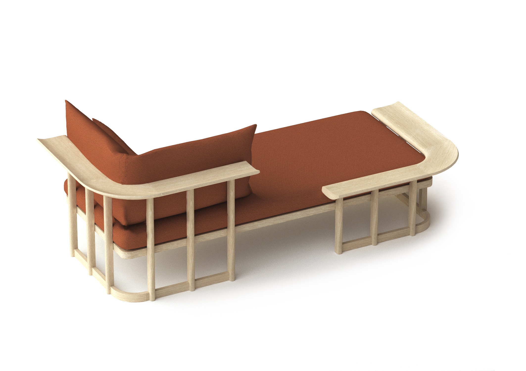 Lover Seat  is a new concept of seating which can be a chaise longue, a love seat, a sofa or a day bed.Available in four different combinations,  Lover Seat  combines the  traditional skills in woodworking with a contemporary look.
