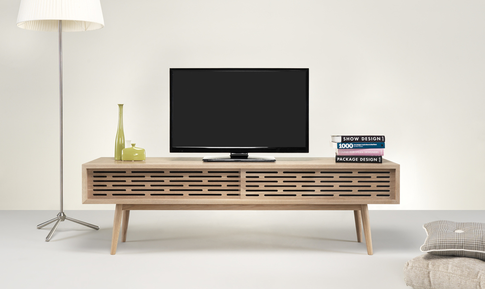 RADIO TV shelf  is the ultimate Spring must-have. It's great for both big and small apartments, bringing a breath of fresh air to your home.  Its perforated slifing doors across the front give an elegance visual, making possible the use of the remote control.