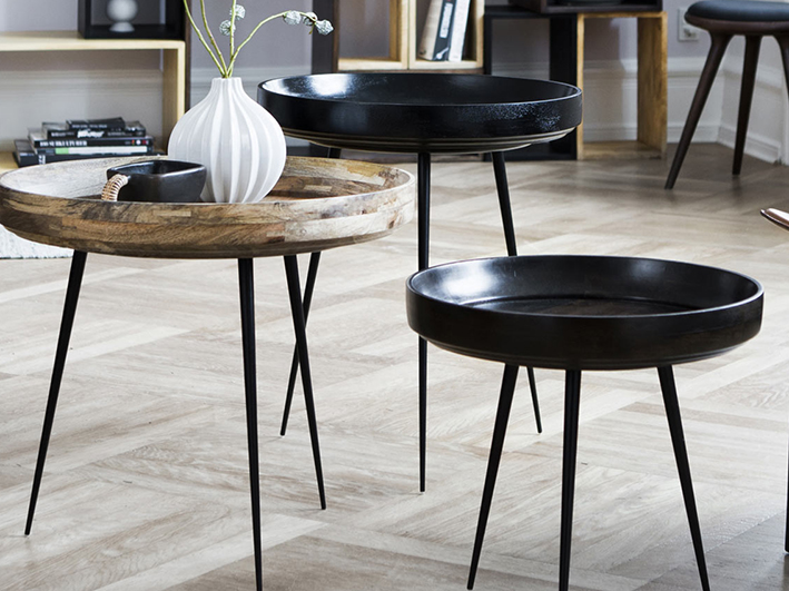 BOWL  TABLE BY AYUSH KASLIWA FOR  MATER .   Sustainably sourced mango wood with steel legs.