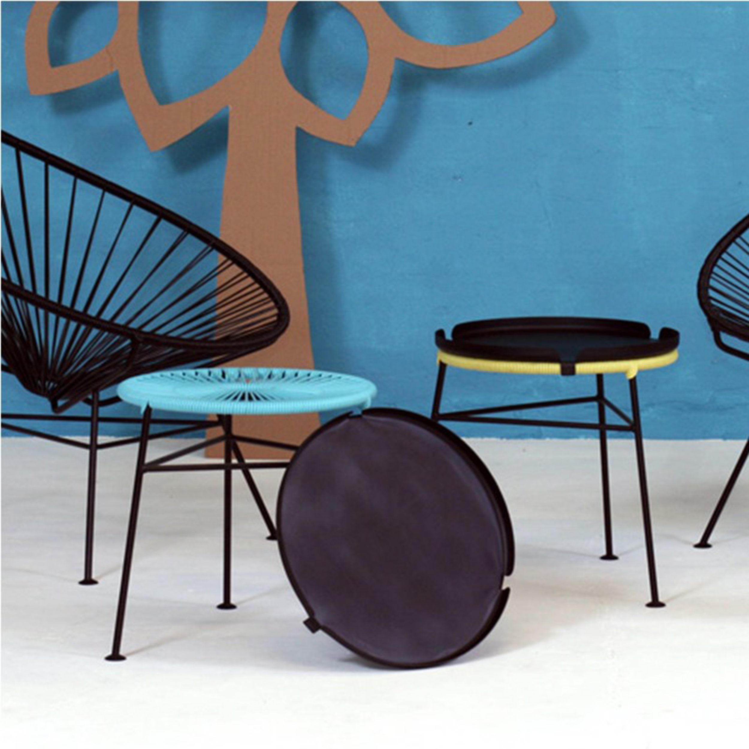 CENTRO  TABLE BY  OK DESIGN .   Frame in galvanized and powder coated solid steel; cord in UV filtered high quality PVC, free of phthalates and heavy metals.