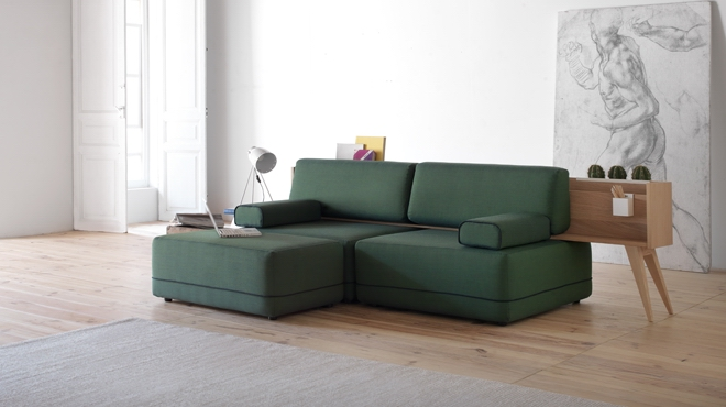 TWO BE SOFA BY ESTUDIO VITALE   Two be is a hybrid sofa and storage/ display piece. Its seat and backrest componentscan be configured.