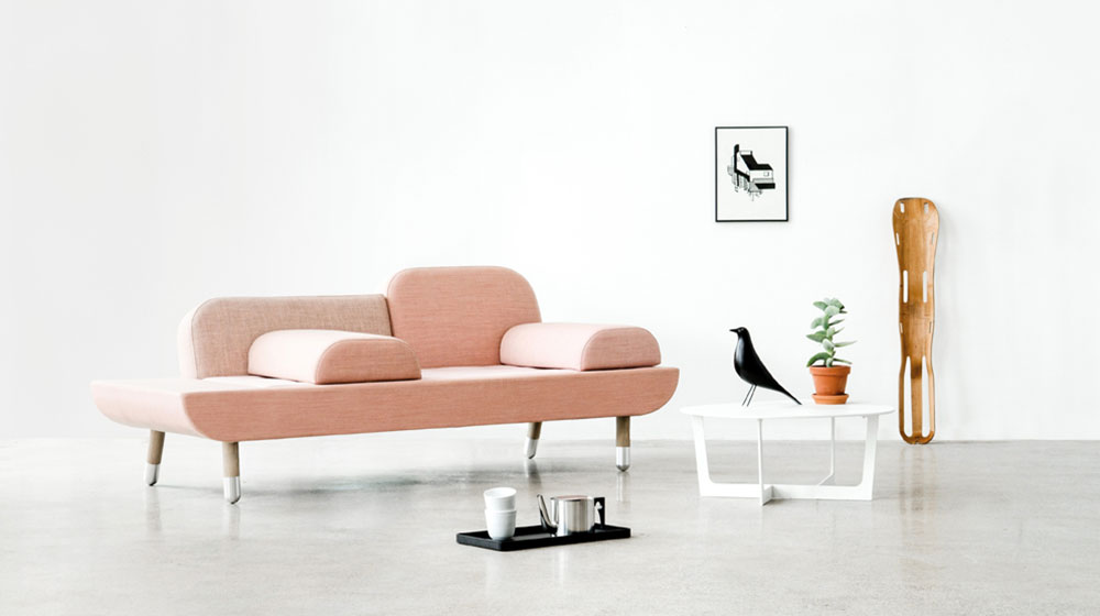 TOWARD SOFA BY ANNE BOYSEN   TOWARD merges with the idea of a chair and a daybed, and unites the three elements in a new design. TOWARD can be arranged as an armchair, a chaise longue or for two people to sit facing each other thanks to its moveable armrests.