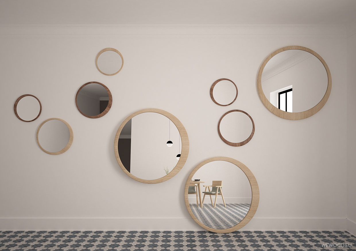 LUNA MIRROR    If your home has a long hallway, it's a welcomed opportunity to place  LUNA mirror , just one bigger piece or groups of  LUNAS  in different  sizes. This will help you distract your eyes when you walk down the hallway, and will brighten up your day.