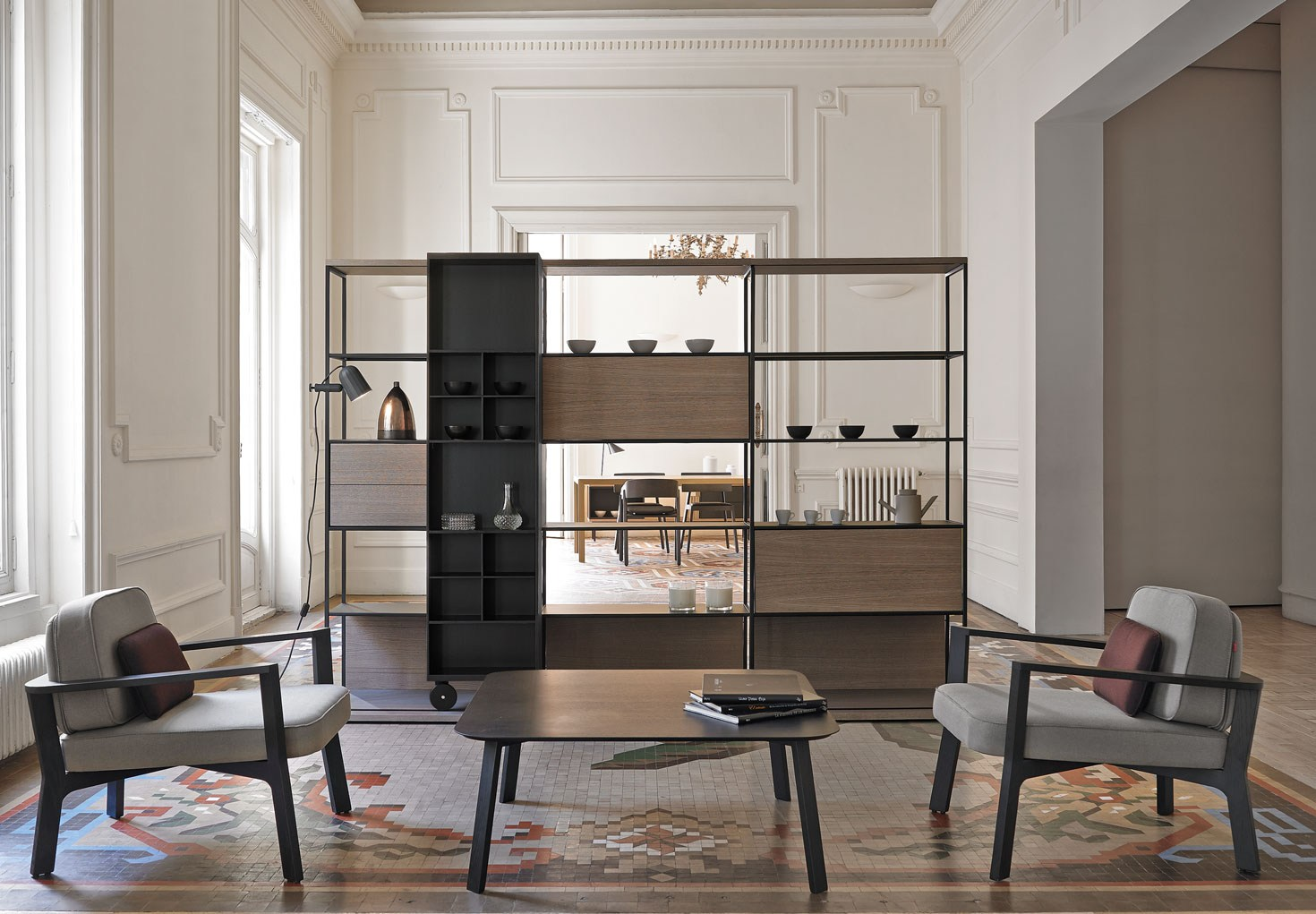 LITERATURA bookshelf  from punt is perfect for both small-scale storage solutions and large compositions, against the wall or as a freestanding room partition, adding style and functionality to any space.
