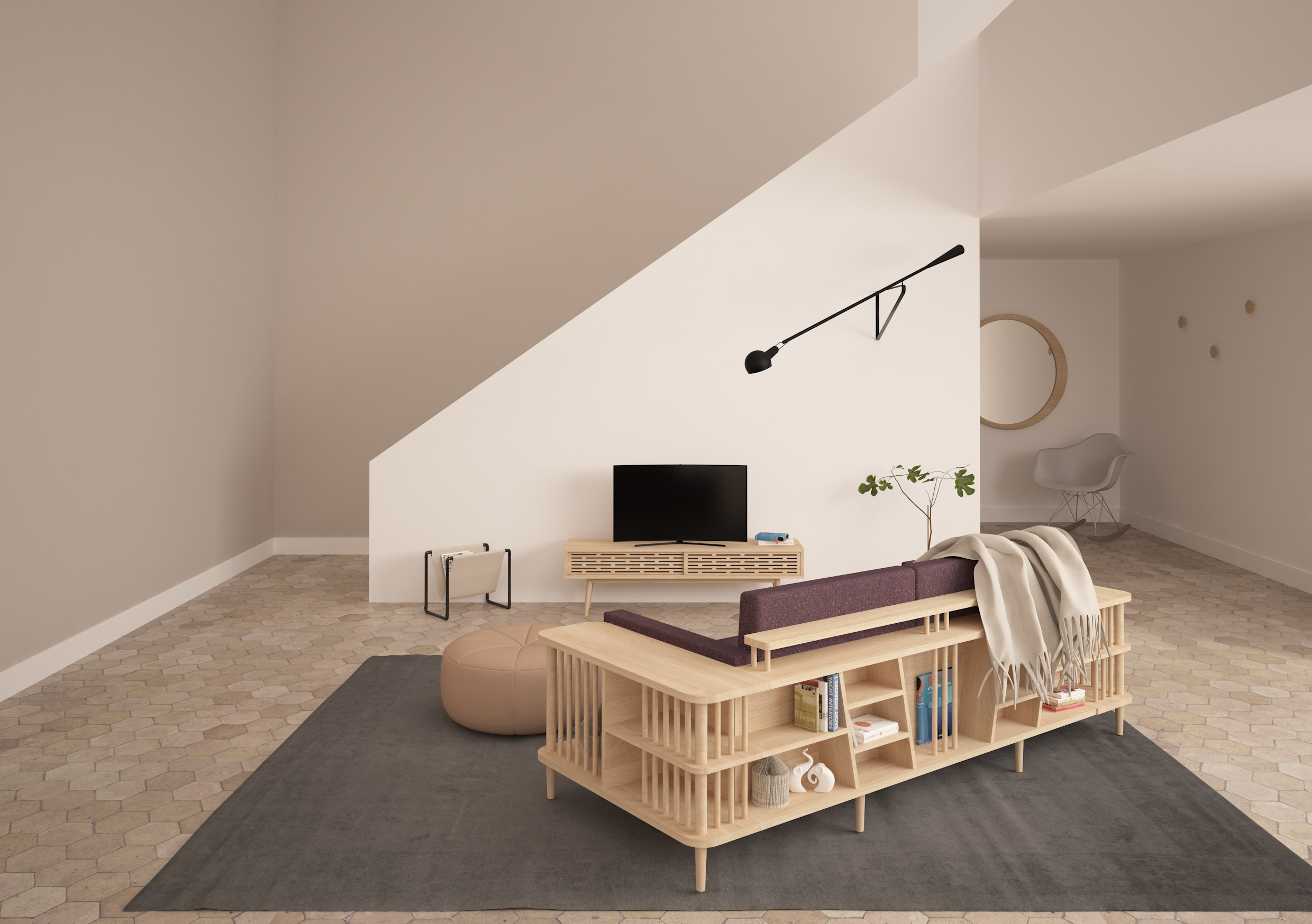 SCAFFOLD sofa  from WEWOOD is a versatile piece, being a sofa and at the same time a bookshelf, creating an exclusive space.