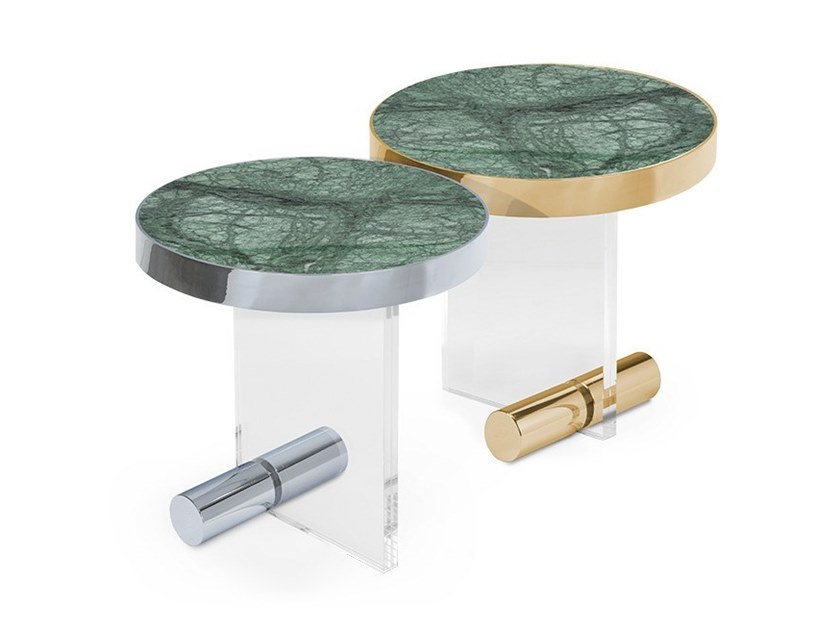 Round side tables in acrylic and marble