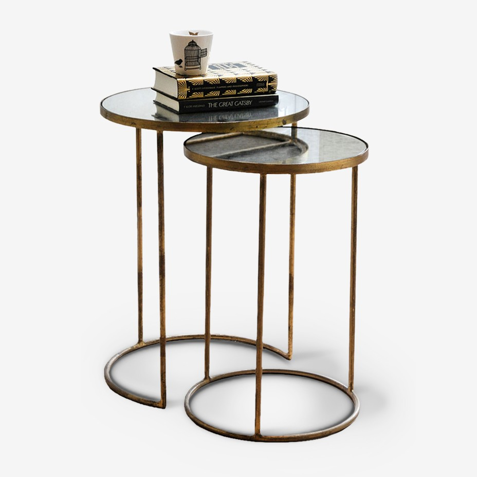 Side tables metal glass
