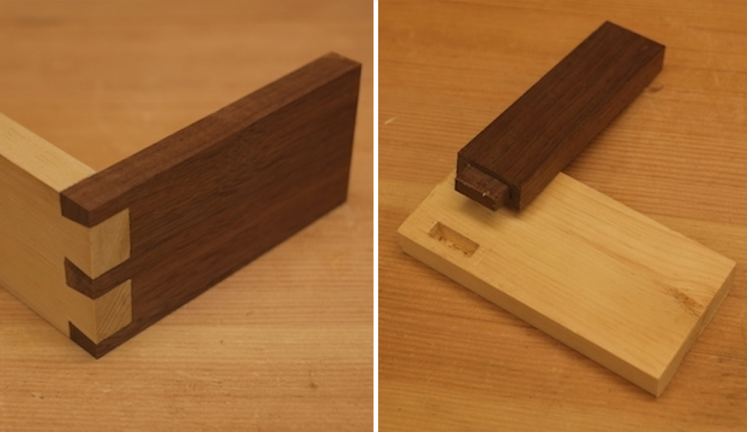 Dovetail and mortise-and-tenon joints