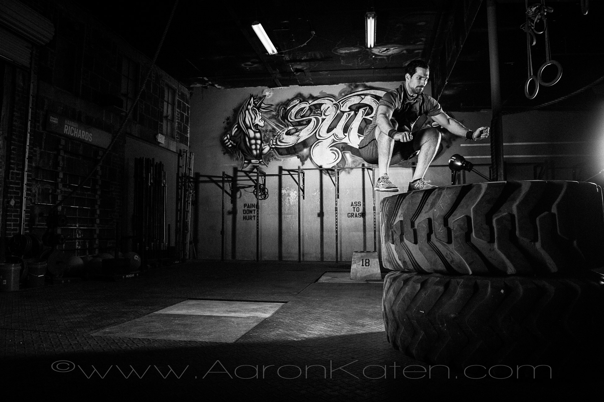 """Two Tire 36"""" Box jump. And yes, that is a unicorn with lasers coming out of his eyes."""