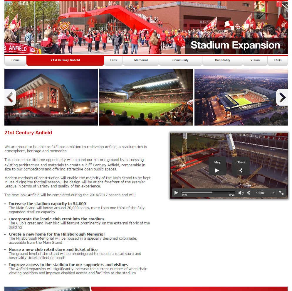 A screenshot from the LFC website