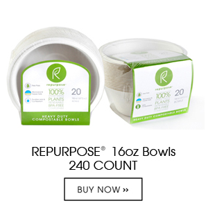 Repurpose Bowls are made 100% from plants, Chlorine free, renewable and compostable. Each case contains 12 packs of 20 count units. They are heavy duty and made from reclaimed wood pulp.