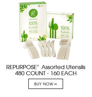 Repurpose Utensils are made 100% from plants, renewable and compostable. Each case contains 20 packs of 24 count units. They are high heat resistant, heavy duty and durable