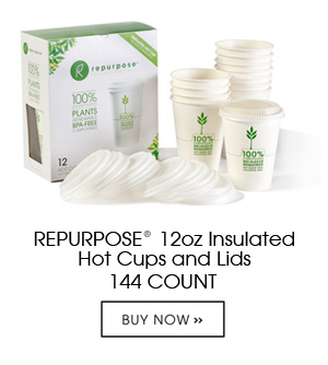 Repurpose Insulated Hot Cups and Lids are made 100% from plants, BPA free, renewable and compostable. Each case contains 12 packs of 12 cups and lids. They are insulated with a plant based resin that keeps hands cool and drinks hot – no sleeve required.