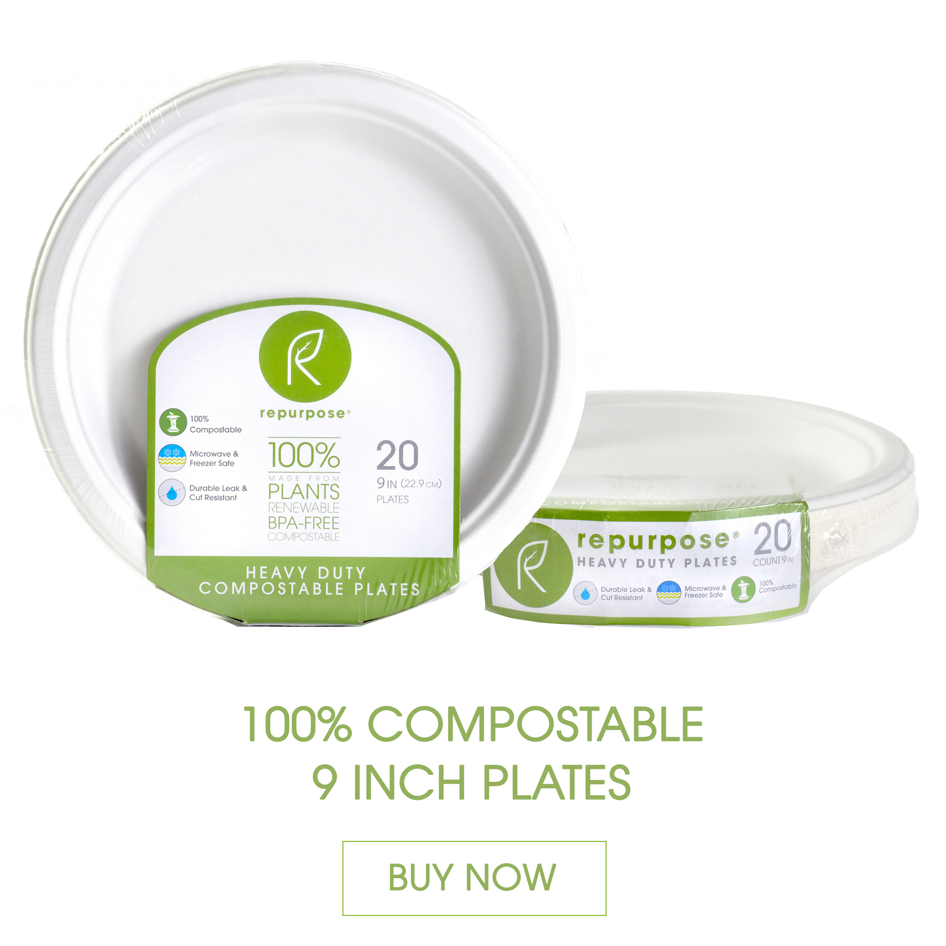 Repurpose Plates are made 100% from plants, Chlorine free, renewable and compostable. They are heavy duty and made from renewable materials.