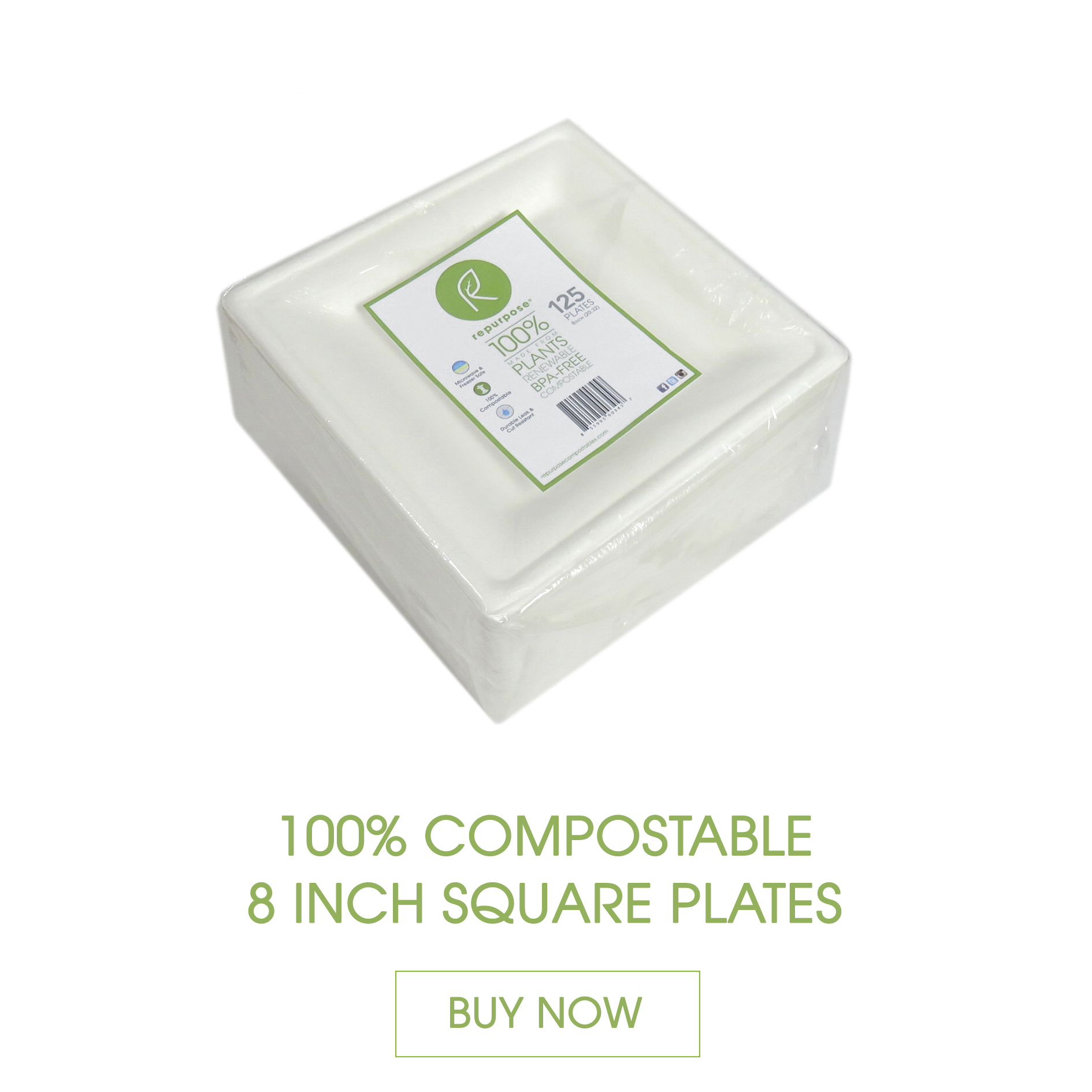 Repurpose Square Plates are made 100% from plants, renewable and compostable. They are heavy duty with an elegant look and feel.