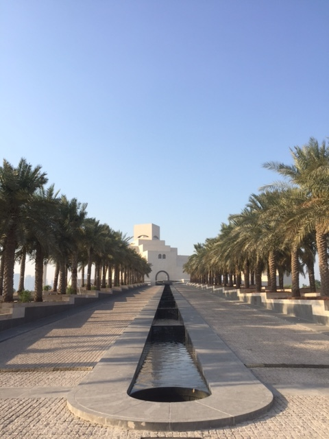 The walkway up to the Museum of Islamic Art in Doha